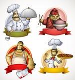 Reeks van vier chef-koks in de vorm van teken Royalty-vrije Stock Afbeeldingen