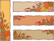 Reeks van vier de herfstbanners Stock Afbeeldingen