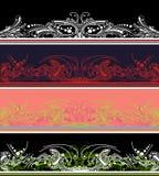 Reeks van Vier Elementen van de Grens van de Kleur Royalty-vrije Stock Afbeeldingen