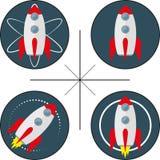 Reeks van vier emblemen met raket Stock Foto