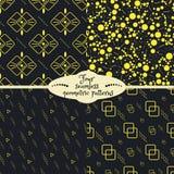 Reeks van vier gele geometrische naadloze patronen royalty-vrije illustratie