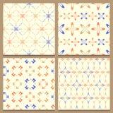Reeks van vier geometrische naadloze patronen Stock Afbeeldingen