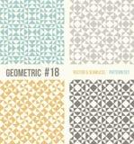 Reeks van vier geometrische patronen, wintertaling, gele en grijze kleuren Royalty-vrije Stock Fotografie
