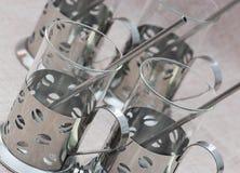 Reeks van vier overladen glazen Royalty-vrije Stock Foto