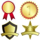 Reeks van vier gouden toekenningsmedailles Stock Afbeeldingen