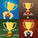 Reeks van vier gouden trofeeën of koppen stock illustratie
