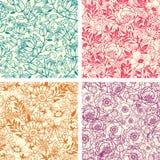 Reeks van vier het bloemen naadloze patroon van de lijnkunst Royalty-vrije Stock Foto