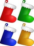 Reeks van vier Kerstmiskousen Stock Foto's