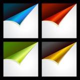 Reeks van vier kleur gekrulde hoeken Royalty-vrije Stock Foto's