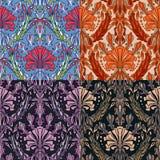 Reeks van vier kleurrijke naadloze patronen Stock Foto