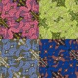 Reeks van vier kleurrijke naadloze patronen Royalty-vrije Stock Afbeeldingen