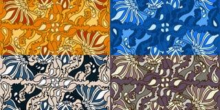 Reeks van vier kleurrijke naadloze patronen Stock Afbeelding
