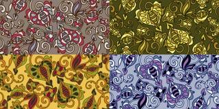 Reeks van vier kleurrijke naadloze patronen. Eps-8. Stock Foto