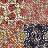 Reeks van vier kleurrijke naadloze patronen. Eps-8. Royalty-vrije Stock Afbeeldingen