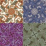 Reeks van vier kleurrijke naadloze patronen. Eps-8. Stock Afbeelding