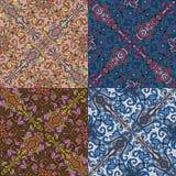 Reeks van vier kleurrijke naadloze patronen. Eps-8. Stock Afbeeldingen