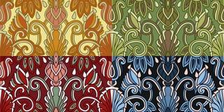 Reeks van vier kleurrijke naadloze patronen Eps-8 Stock Afbeeldingen