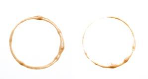 Reeks van vier koffievlekken. Stock Fotografie