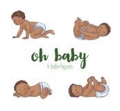 Reeks van vier leuke Afrikaanse babys vector illustratie