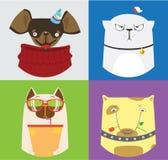 Reeks van vier leuke katten en honden Vectorinzameling van huisdieren Royalty-vrije Stock Foto