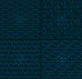 Reeks van vier luxeachtergronden voor feestelijke vlieger of vakantiepakketten met abstract patroon Stock Foto