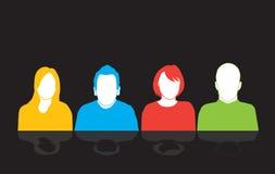 Reeks van vier mensensilhouetten royalty-vrije illustratie