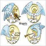 Reeks van Vier Mooie Engelen van de Beeldverhaalstijl vector illustratie