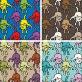 Reeks van vier naadloze achtergronden met grappige kleurrijke katten Stock Afbeelding