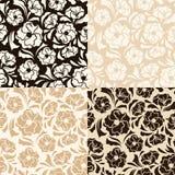 Reeks van vier naadloze beige en bruine bloemenpatronen Vector illustratie Stock Afbeeldingen