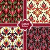 Reeks van vier naadloze kleurrijke patronen Stock Afbeelding