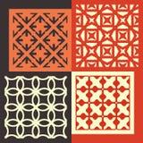 Reeks van vier naadloze patronen Geometrische wijnoogst vector illustratie