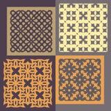 Reeks van vier naadloze patronen Geometrische wijnoogst Stock Foto