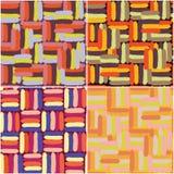 Reeks van vier naadloze patronen van het grunge gestreepte kleurrijke penseel Stock Afbeeldingen