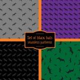 Reeks van vier naadloze patronen van zwarte knuppels Royalty-vrije Stock Foto