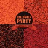 Reeks van vier naadloze texturen voor Halloween Royalty-vrije Stock Foto