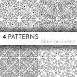 Reeks van vier naadloze zwart-witte patronen Stock Afbeeldingen