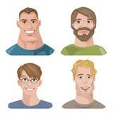 Reeks van vier portretten Mannelijke karakters Vector Illustratie