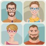 Reeks van vier portretten van hipsters. Royalty-vrije Illustratie
