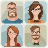 Reeks van vier portretten van hipsters. Stock Illustratie