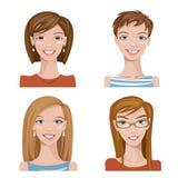 Reeks van vier portretten Vrouwelijke karakters Vector Illustratie