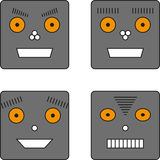 Reeks van vier robots Royalty-vrije Stock Afbeeldingen