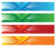 Reeks van vier seizoengebonden halftone digitale banners Stock Foto