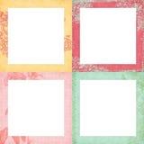 Reeks van vier sjofele bloemenframes Stock Afbeelding