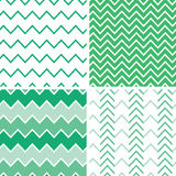 Reeks van vier smaragdgroene chevronpatronen en Royalty-vrije Stock Foto