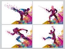 Reeks van vier Sporten met Spelers vector illustratie