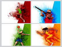 Reeks van vier Sporten met Spelers Stock Foto