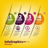 Reeks van vier stickers voor infographics Stock Foto