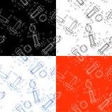 Reeks van vier Techniek naadloos patroon het trekken van de bout Stock Afbeeldingen