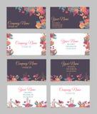 Reeks van vier tweezijdige bloemenadreskaartjes royalty-vrije illustratie
