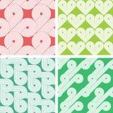 Reeks van vier uitstekende naadloze patronen Stock Fotografie